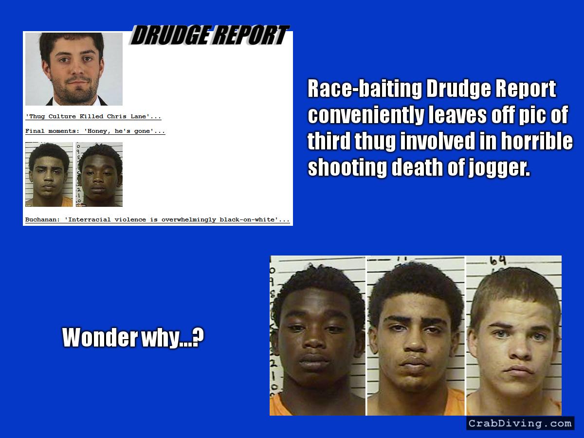 Drudge Race Baiting Omits White Thug