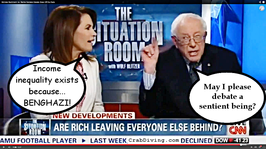 Bernie Sanders v Michele Bachmann- CrabDiving