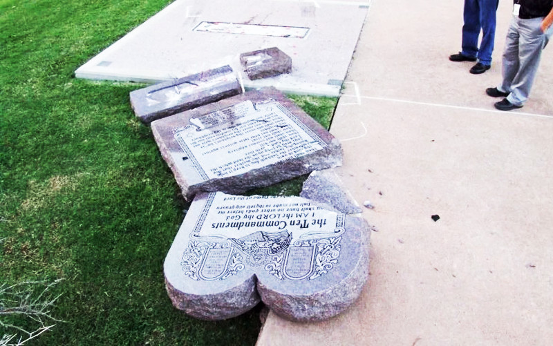 10 commandments monument destroyed